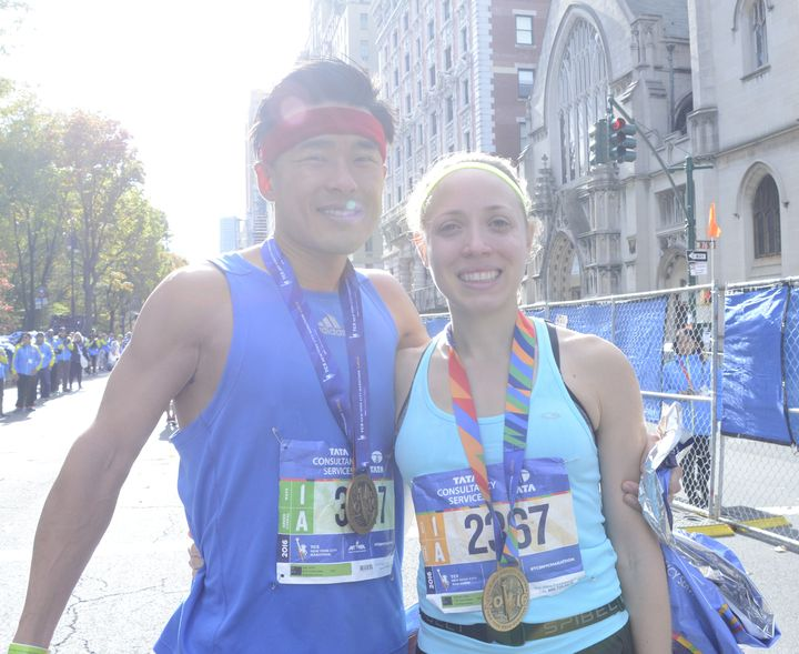 Mark Kim and Karen Jablonski, married, ran the marathon together. Jablonski shaved ten minutes off her personal record.