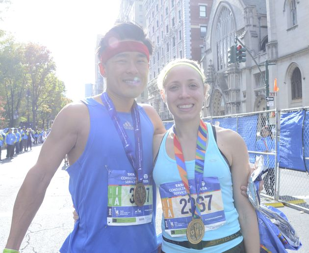 Mark Kim and Karen Jablonski, married, ran the marathon together. Jablonski shaved ten minutes off...