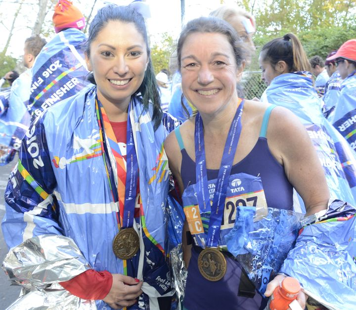Selina Ruiz (left) and Barb Eisner met at the race. Eisner, from Portland, Oregon, ran the race for her 50th birthday.