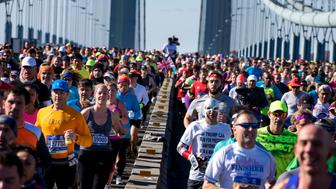 Runners cross the Verrazano-Narrows Bridge during the New York City Marathon on Sunday, Nov. 6, 2016, in New York. (AP Photo/Craig Ruttle)