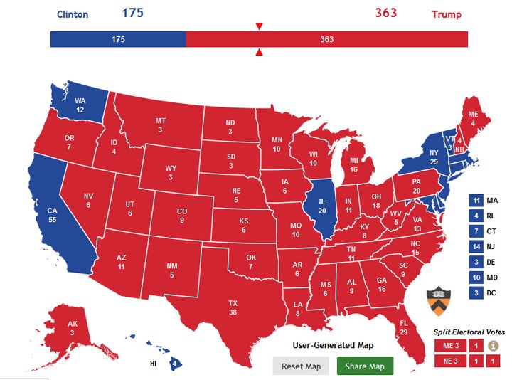 Nate Silver's model gives this map (or worse for Clinton) a relatively high chance of occurring.