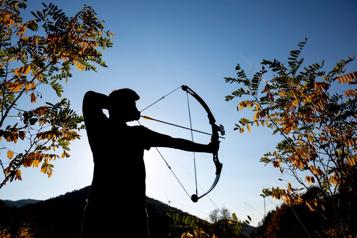 The homeowner used a compound bow and arrow, such as the one pictured above, to shoot a fleeing burglar in the buttocks.
