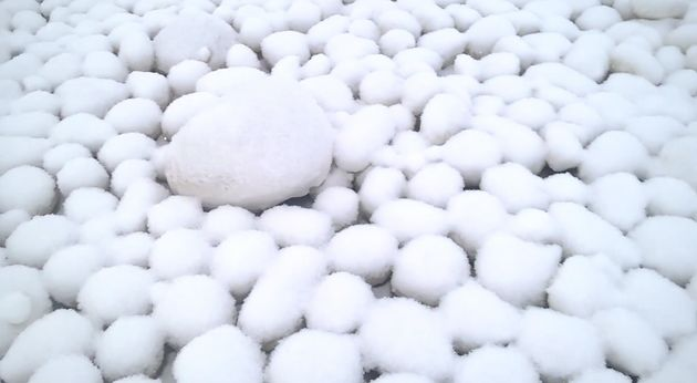 Spherical balls of ice are liningnear Nyda in Russia's Yamalo-Nenets Autonomous