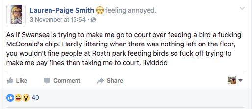 Smith took to Facebook to share her anger about the