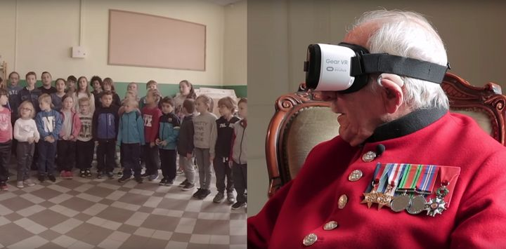 British World War II veteran Frank Mouqué, 91, watches as a group of French school children sing to him to express the