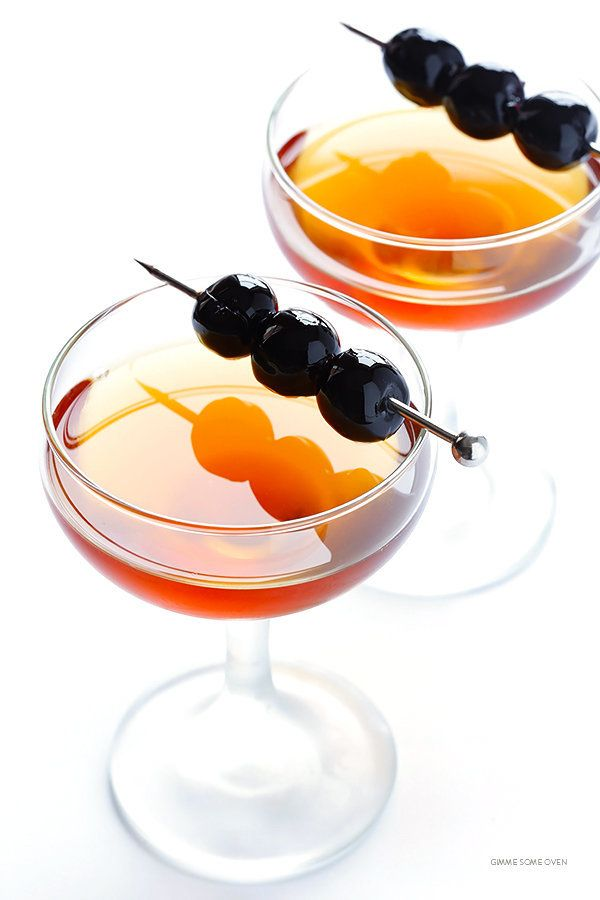 "<strong>Get the <a href=""http://www.gimmesomeoven.com/manhattan-drink/"" target=""_blank"">Manhattan Cocktail recipe</a> fr"