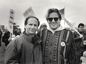 Metsa and the late Senator Paul Wellstone at an Electricians Strike, Golden Valley, MN, Sept. 1991.