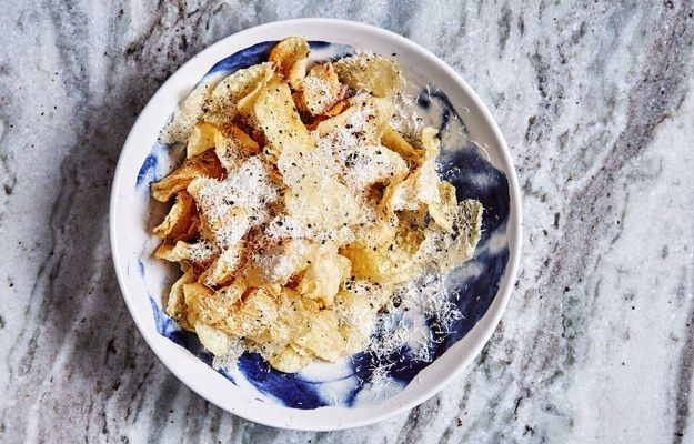 "<p><a href=""http://www.bonappetit.com/recipe/cacio-e-pepe-chips?mbid=synd_huffpotaste"" target=""_blank"">Cacio e Pepe Chips</a> are the go-to snack we always want to make.</p>"