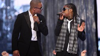LOS ANGELES, CA - FEBRUARY 08: Rappers T.I. and Lil' Wayne perform onstage at the 51st Annual GRAMMY Awards held at the Staples Center on February 8, 2009 in Los Angeles, California.  (Photo by John Shearer/WireImage)