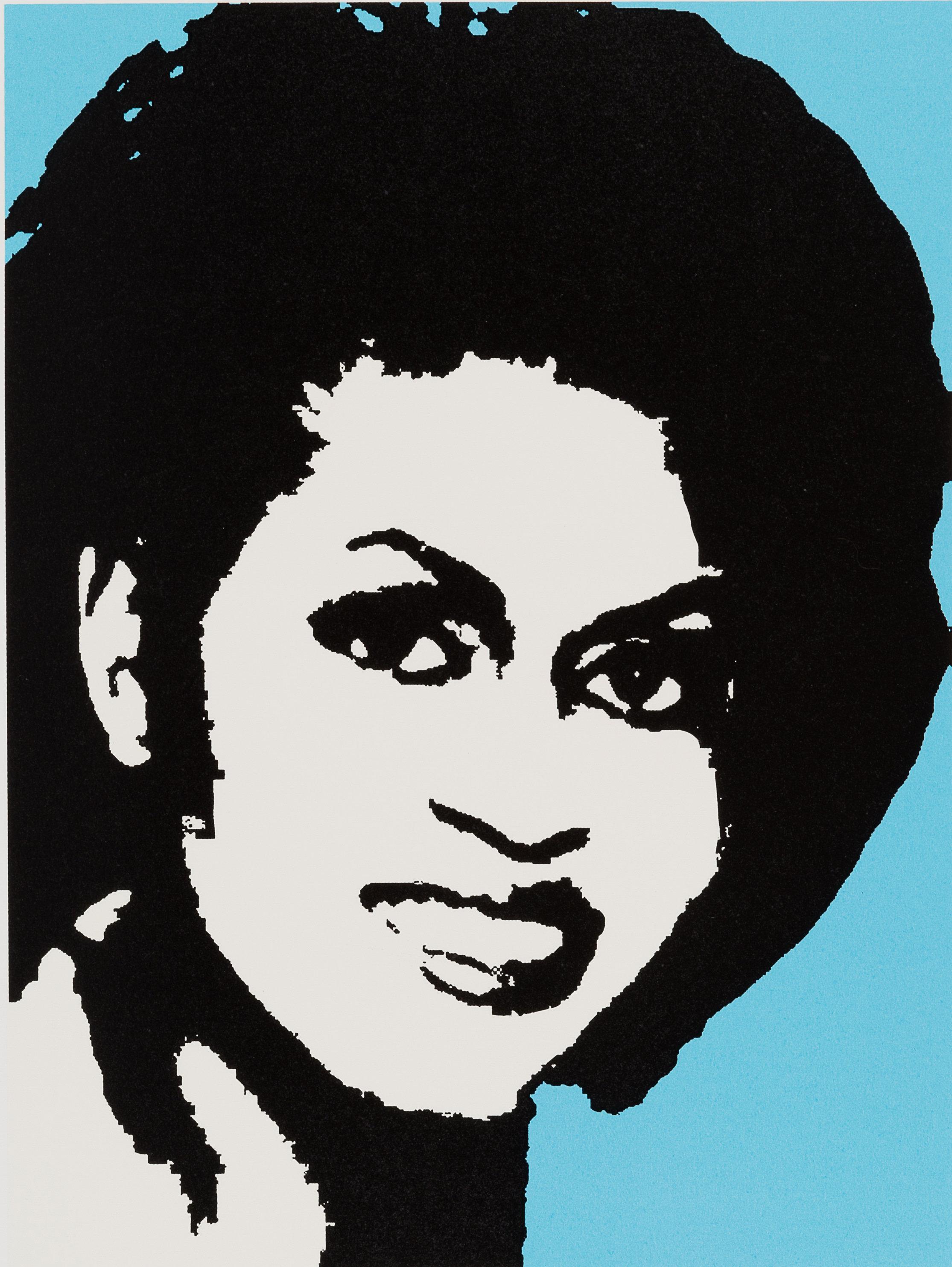 "Mickalene Thomas, ""<i>Michelle O,""</i> 2008, screen print in colors on paper. Image via Paddle8, ©MickaleneT"