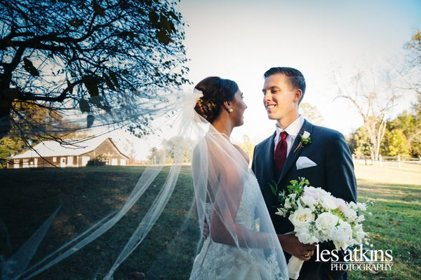"""""""The crisp fall air was just perfect for Bekah and Nathan's wedding Friday afternoon at The Oaks at Salem in Apex, North Caro"""
