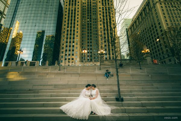"""""""Over the weekend, Marla andNicole celebrated their wedding and the Cubs in sweet home Chicago."""" -- <i>photographer Hoo"""