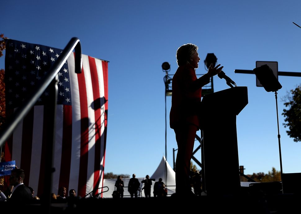 Clinton speaks during a campaign rally in Pittsburgh, Pennsylvania.
