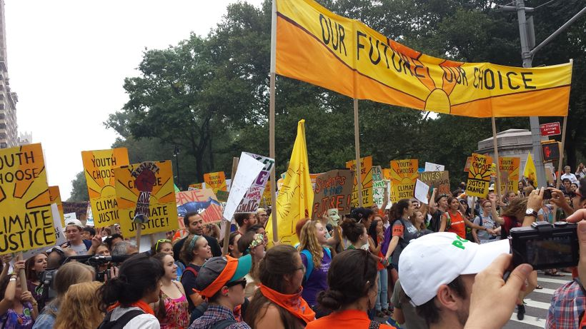 <em>Climate Justice Protesters  march in the People's Climate March in New York City in September 2014</em>