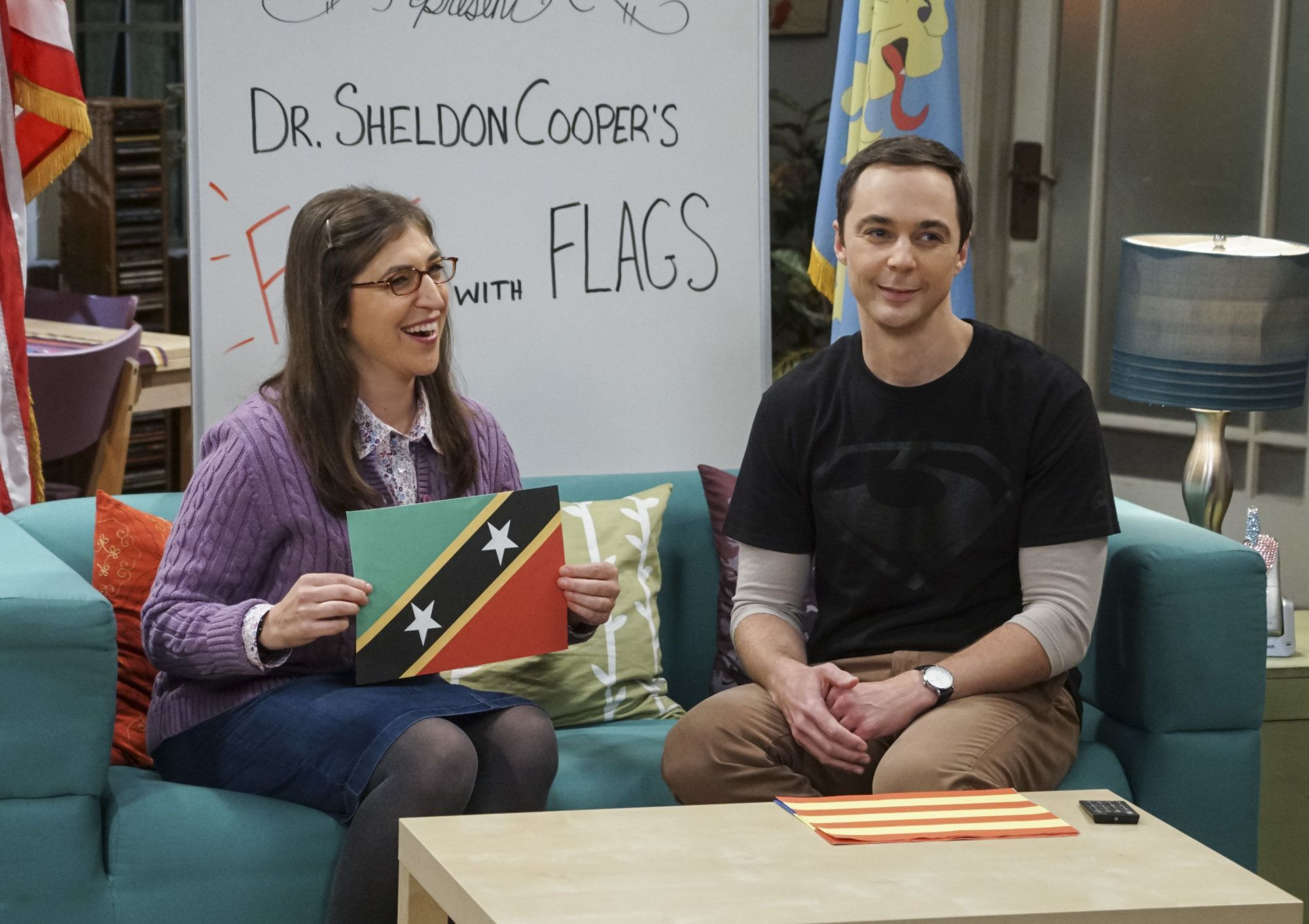 LOS ANGELES - OCTOBER 18: The Veracity Elasticity' -- Pictured: Amy Farrah Fowler (Mayim Bialik) and Sheldon Cooper (Jim Parsons). Sheldon and Amy present a new 'Fun With Flags' live from Penny's apartment, on THE BIG BANG THEORY, Thursday, Nov. 3 (8:00-8:31 PM, ET/PT), on the CBS Television Network. (Photo by Monty Brinton/CBS via Getty Images)