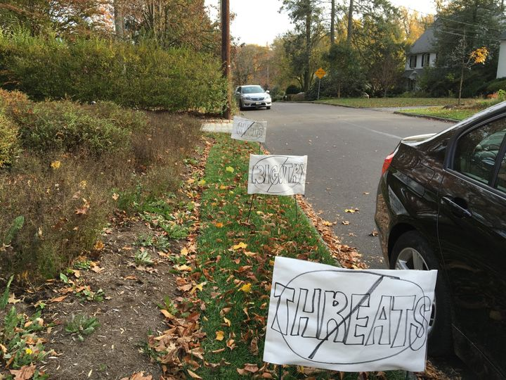 Homemade anti-Trump signs in a neighborhood outside Philadelphia.