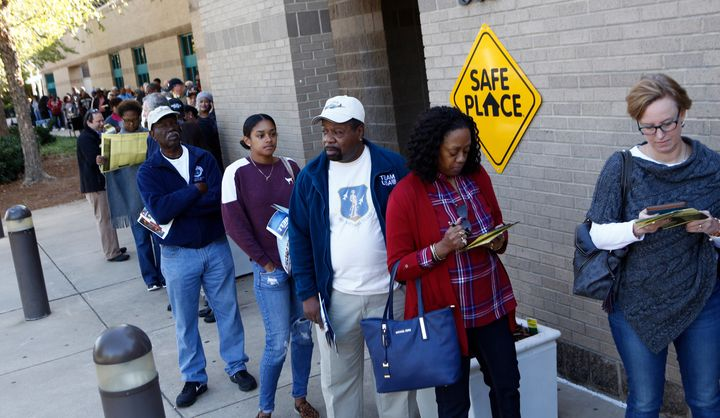 People lined up to vote early in Charlotte, North Carolina.