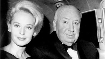 Tippi Hedren and Alfred Hitchcock after filming The Birds