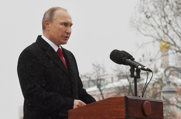 Russian President Vladimir Putin delivers a speech during the opening ceremony of the monument to Vladimir...