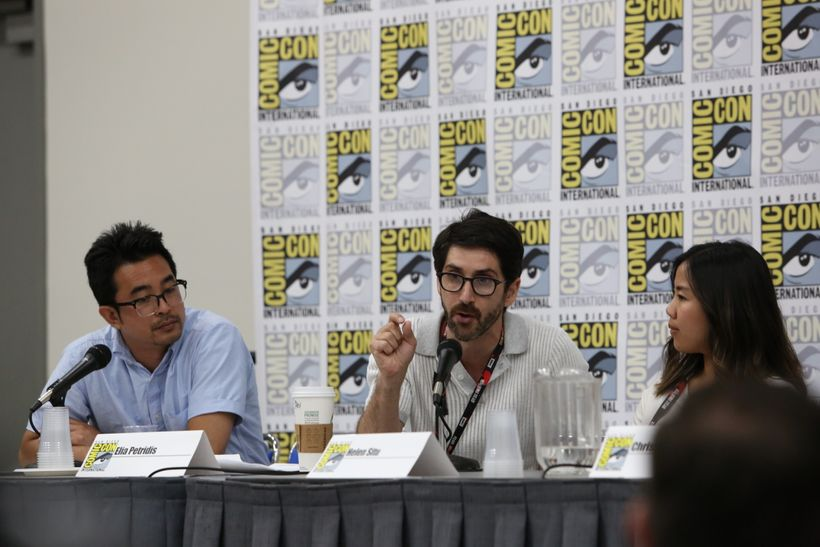 Elia Petridis (middle) discusses VR/AR at this summer's Di-VR-sity panel, produced by his company Filmatics for Comic-Con 201