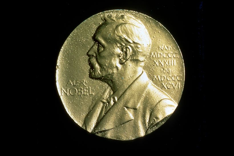 Front of the medal of the Nobel Prize, featuring a profile of Alfred Nobel, isolated on a black background.