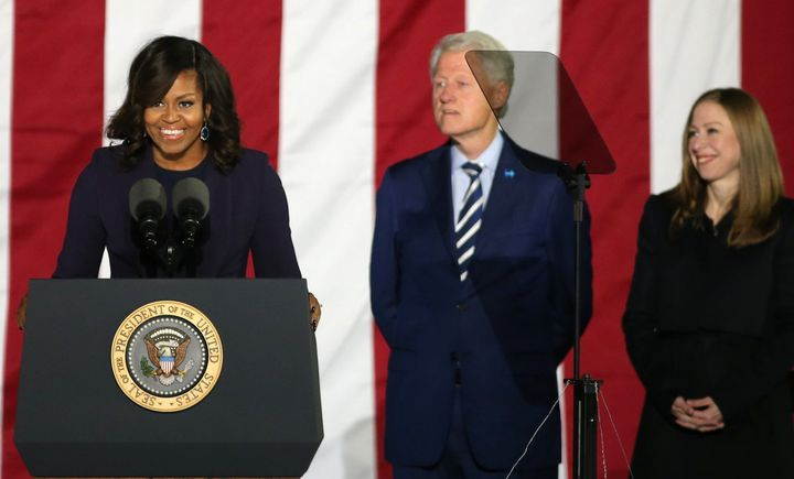 U.S. first lady Michelle Obama speaks during a campaign event for U.S. Democratic presidential nominee Hillary Clinton in Phi