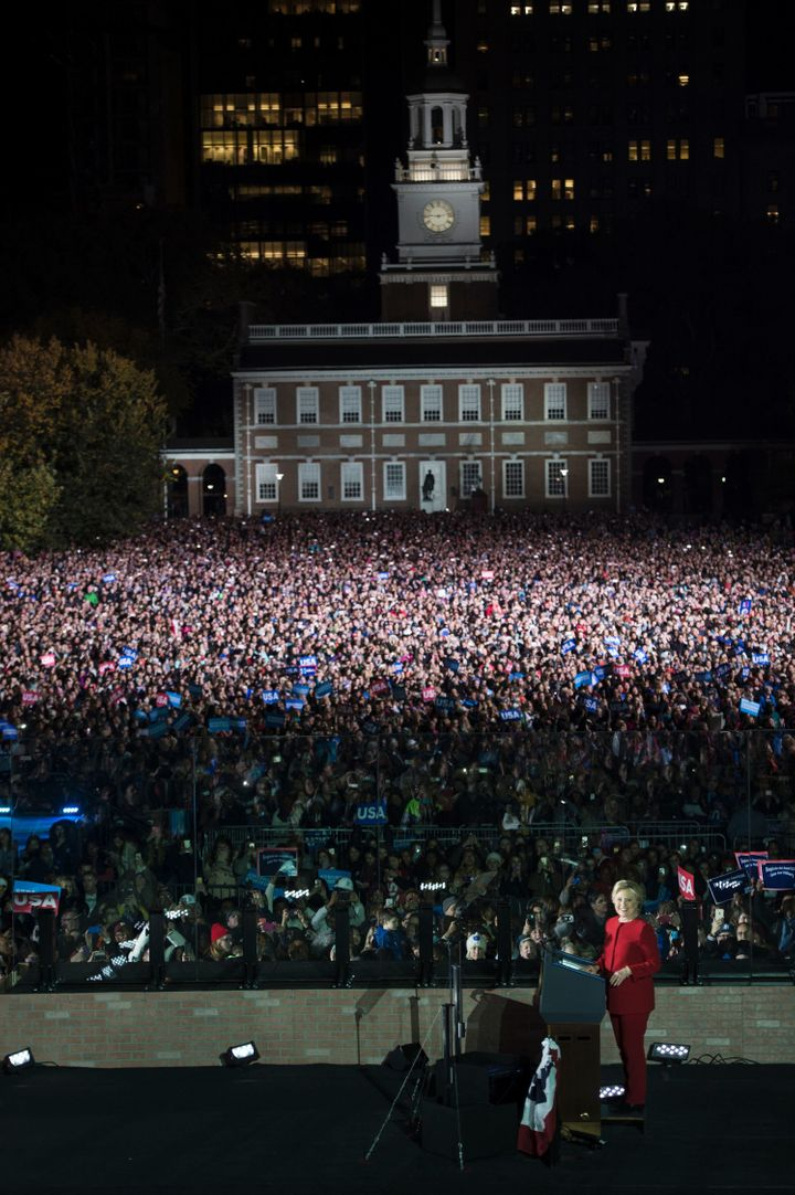 Hillary Clinton got a rock-star welcome from the crowd gathered at Independence Mall in Philadelphia.