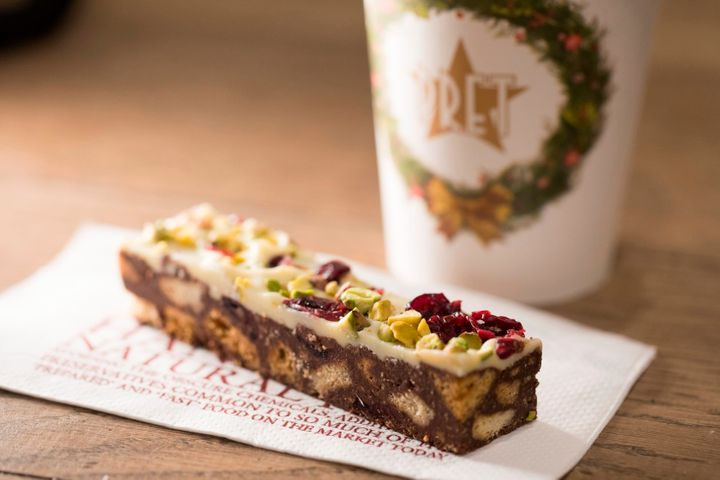 Pret's chocolate tiffin and a hot drink.