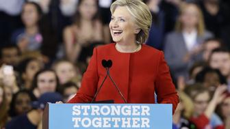 Democratic presidential candidate Hillary Clinton reacts to the audience during a campaign rally in Raleigh, N.C., Tuesday, Nov. 8, 2016. (AP Photo/Gerry Broome)