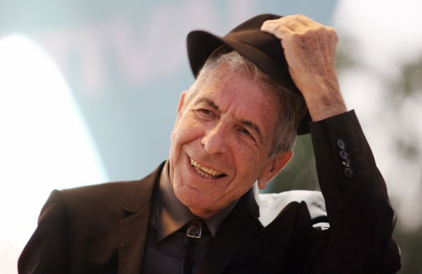 Canadian singer Leonard Cohen performs during the Nice Jazz Festival, on July 22, 2008, in Nice, southern France.