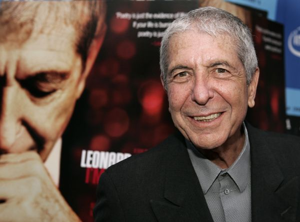 "Singer/songwriter/poet Leonard Cohen attends the Los Angeles premiere of the film ""Leonard Cohen I'm Your Man"" on June 24, 20"