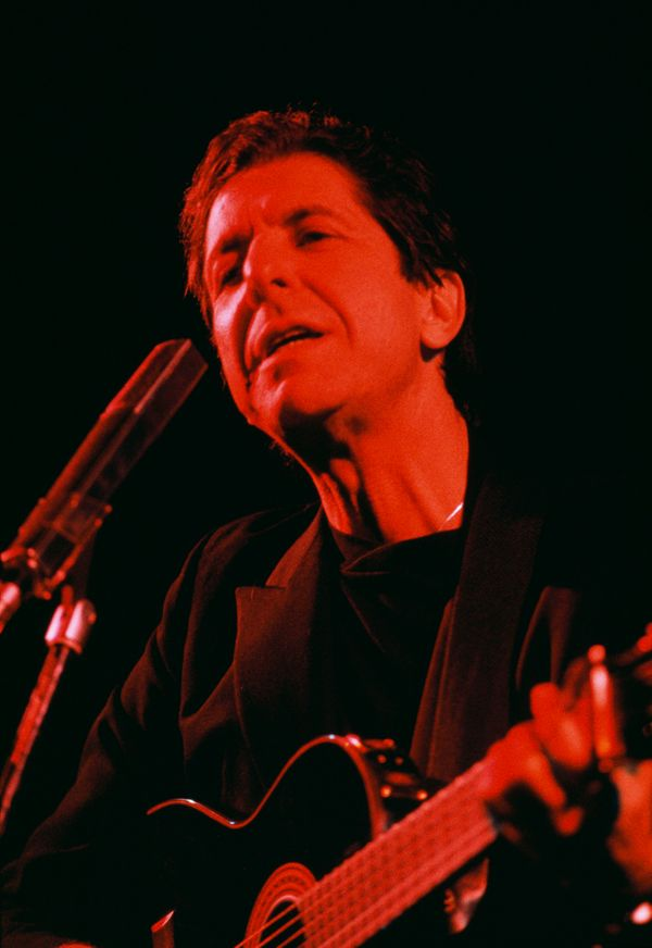 Canadian singer and composer Leonard Cohen performing on stage at Salle Pleyel in Paris, France. (Photo by THIERRY ORBAN/Sygm
