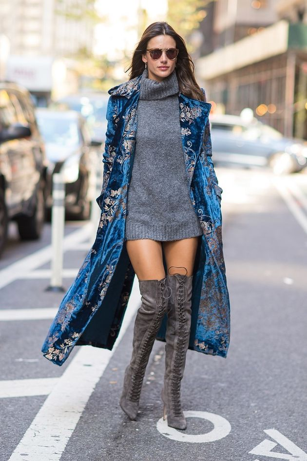 Mix up your proportions with a mini dress, thigh-high boots, and a longer  duster coat.