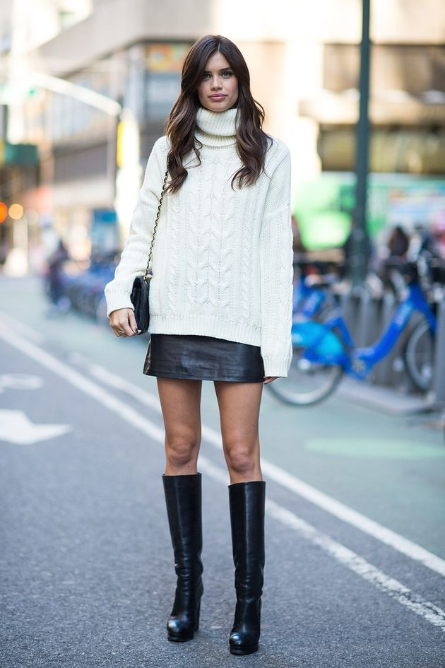 f076395004 Cozy up in an oversized turtleneck sweater, paired with a leather mini and  knee-high boots.