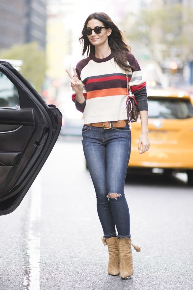 0939e1ceb4 Keep it simple with a brightly colored knit and skinny jeans.