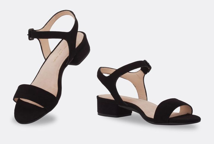 The same shoe with the flat heel option.