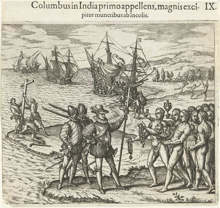 Engraving by Theodor de Bry, Columbus Arrives in the New World(1592)