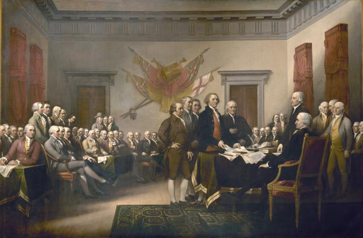 America's favorite slave holding philosophers of freedom: John Trumbull, <em>Signing of the Declaration of Independence</em>,