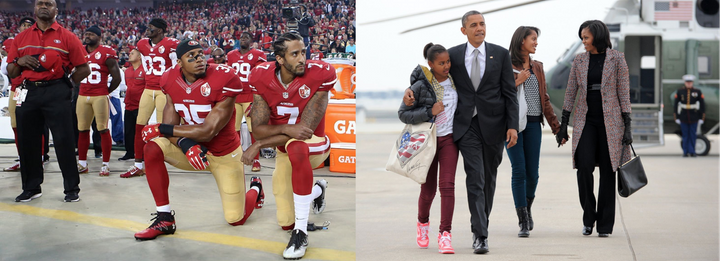 These two photos can either represent the new Black awakening in Obama's America; or, it can represent a liberal conspiracy t