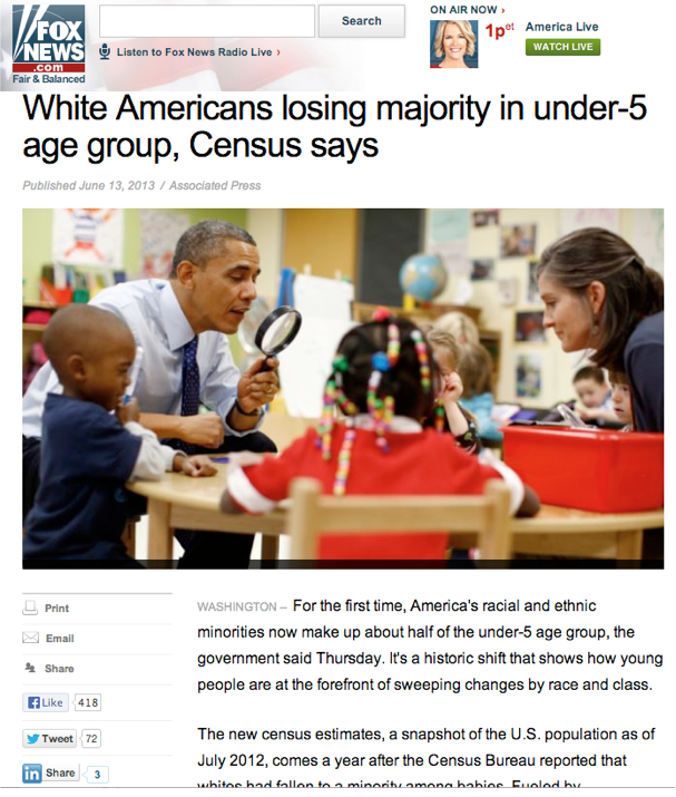This is how Fox.com reported a story on population demographics, with winners and losers. And this has what to do withObama?