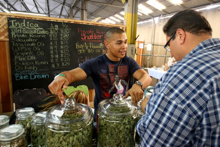 Grower Anthony Nguyen at a medical marijuana farmers market in Los Angeles on July 11, 2014. California established a me