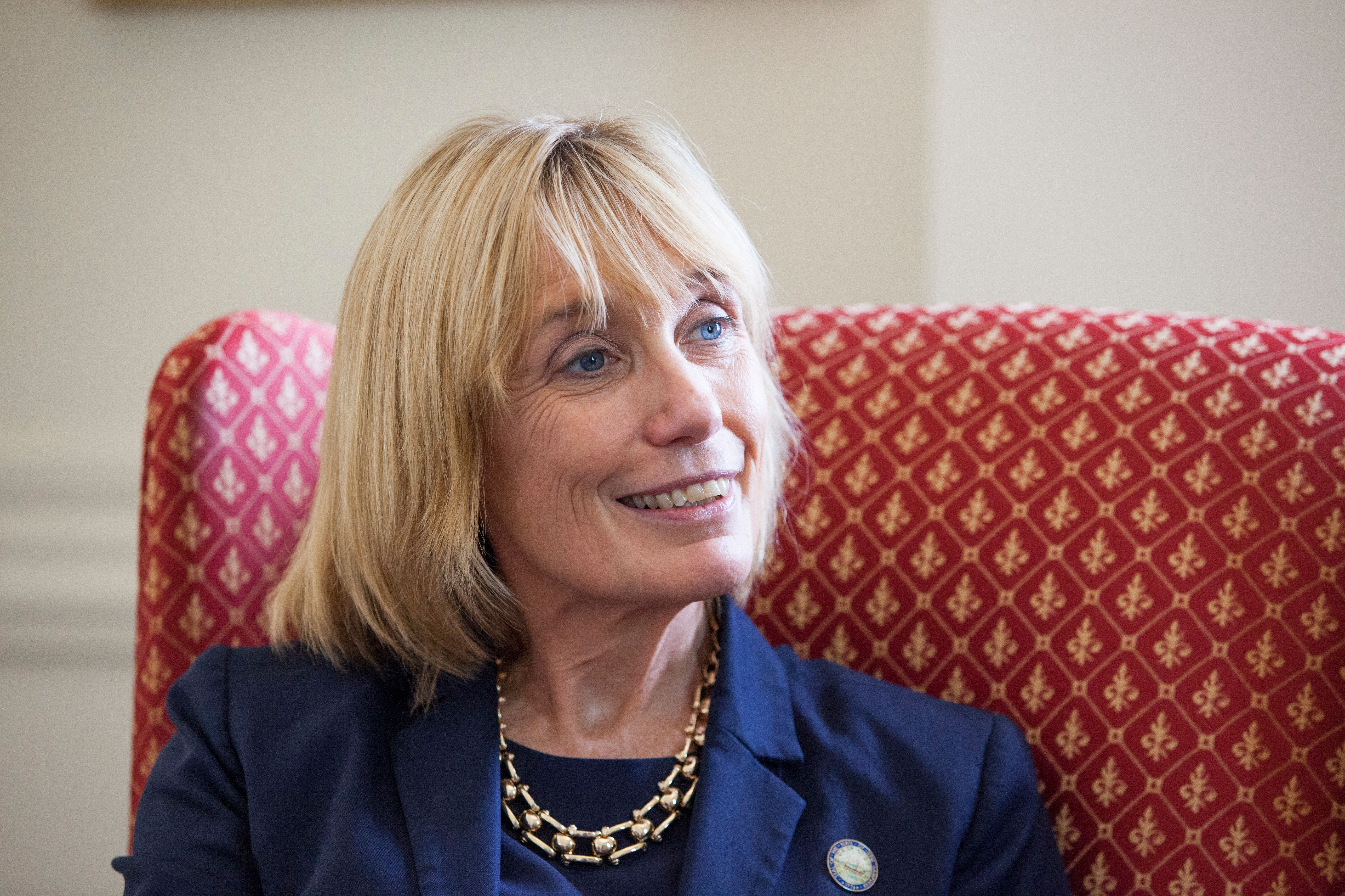 MANCHESTER, NH - SEPTEMBER 9: Governor Maggie Hassan (r.) chats with a reporter in her office at the statehouse, on September 9, 2016 in Manchester, New Hampshire. Hassan, a democrat, is running for US Senate against incumbent republican Kelly Ayotte in a hotly-contested race. (Photo by Melanie Stetson Freeman/The Christian Science Monitor via Getty Images)