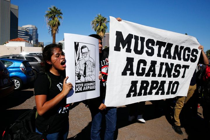 High school sophomore Yazmin Sagastume protests against Sheriff Joe Arpaio on Election Day in downtown Phoenix. The controver