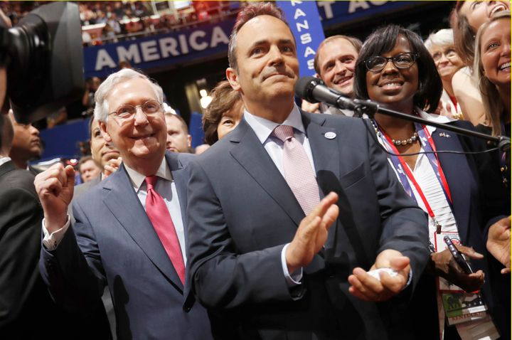 Control of the state House, a priority for U.S. Senate Majority Leader Mitch McConnell, left, will help Gov. Matt Bevin