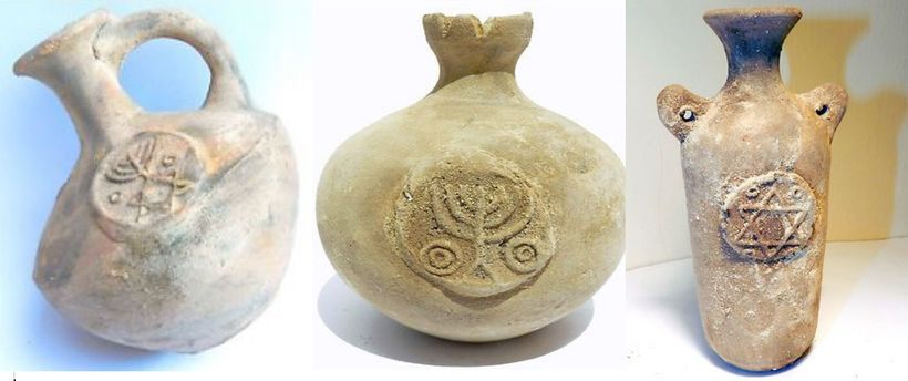 Replicas of ancient Jerusalem terracotta/clay wine jugs with jewish symbols