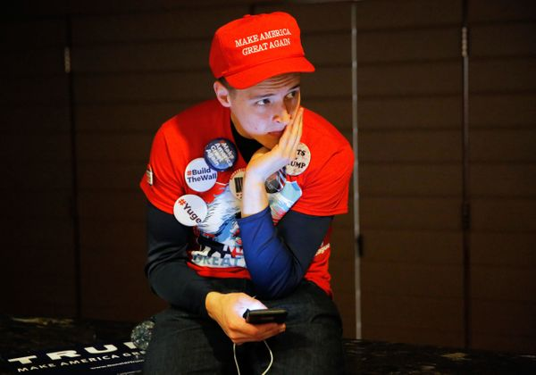A Trump supporter waits for the Trump rally to begin at the Hilton Hotel during the U.S. presidential election in New York Ci