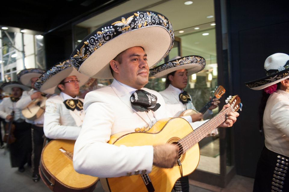 A mariachi band plays outside Trump Tower in New York City on November 8 2016