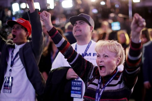 Carol Minor cheers during Republican presidential nominee Donald Trump election night event at the New York Hilton Midtown in