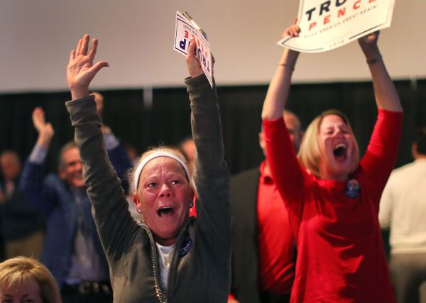 Donald Trump supporters are jubilant as Trump is to predicted to win North Carolina as they watched the election results at a