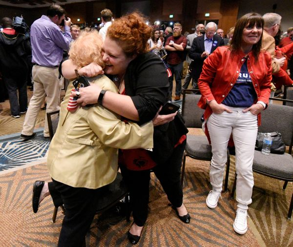 Supporters of U.S. Republican candidate Donald Trump celebrate after the networks called their candidate's victory in the sta